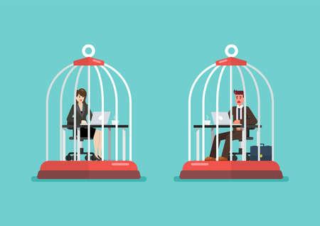 Business man and woman working at desk trapped inside birdcages. Stress at work concept. Vector illustration Vektorgrafik