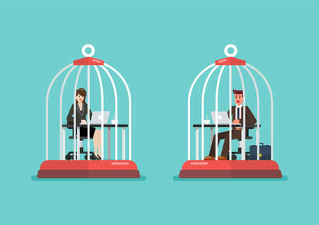 Business man and woman working at desk trapped inside birdcages. Stress at work concept. Vector illustration 矢量图像