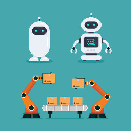 Robot Chatbot and Heavy automation robot machine. Vector illustration.