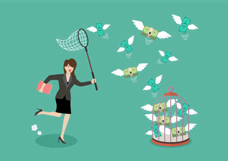 Business woman trying to catch flying money into birdcage. Business metaphor 矢量图像