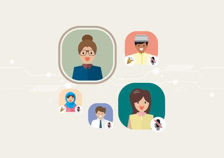 Social media audio chat. Clubhouse app. Member's avatars. Vector illustration 矢量图像
