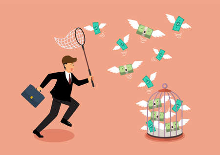 Businessman trying to catch flying money into birdcage. Business metaphor 矢量图像