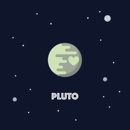 Pluto on space background. star and planets on galaxy background. Flat style vector illustration 矢量图像