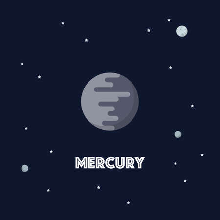 Mercury on space background. star and planets on galaxy background. Flat style vector illustration
