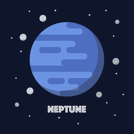 Neptune on space background. star and planets on galaxy background. Flat style vector illustration