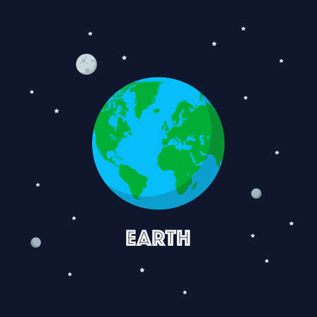 Earth and moon on space background. Flat style vector illustration 矢量图像