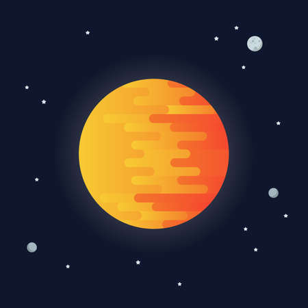 Sun on space background. star and planets on galaxy background. Solar system. Flat style vector illustration