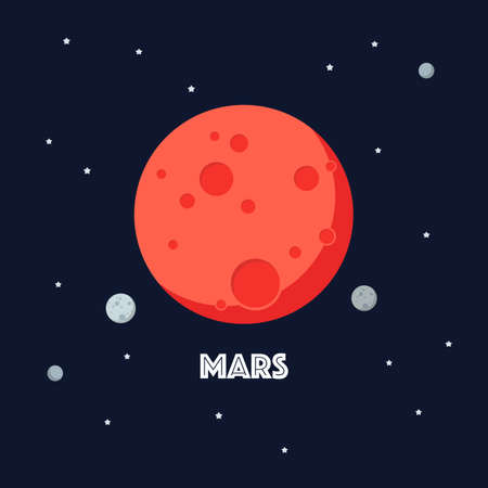 Mars on space background. star and planets on galaxy background. Flat style vector illustration