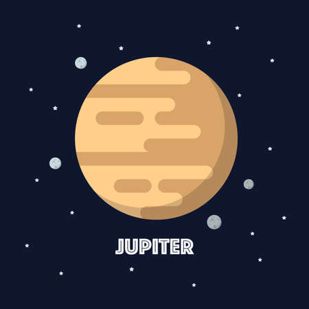 Jupiter on space background. star and planets on galaxy background. Flat style vector illustration