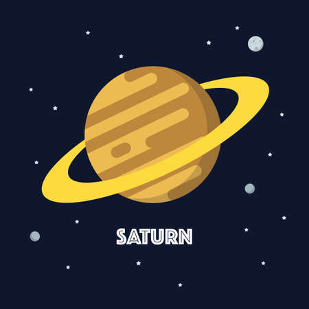 Saturn on space background. star and planets on galaxy background. Flat style vector illustration 矢量图像