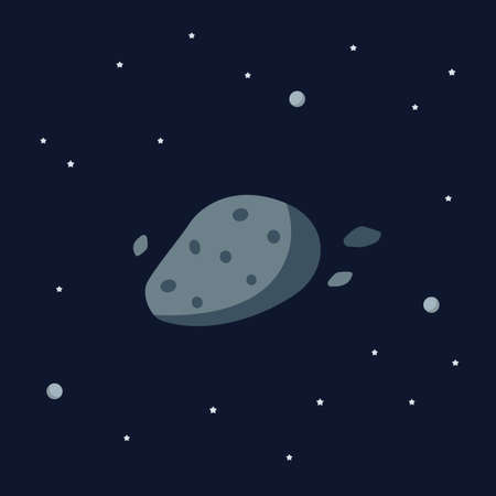 Asteroid on space background. star and planets on galaxy background. Solar system. Flat style vector illustration 矢量图像