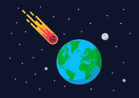 Giant asteroid is approaching the earth. Flat style vector illustration 矢量图像