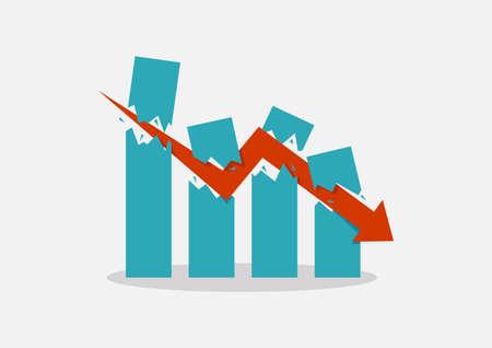Economic Crash concept. Business graph concept