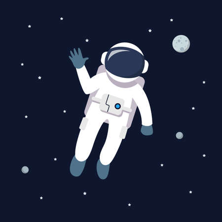 Astronaut man floating in space. star and planets on galaxy background. Flat style vector illustration