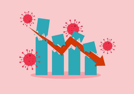Economic Crash due to Coronavirus. Stock market graph concept 矢量图像