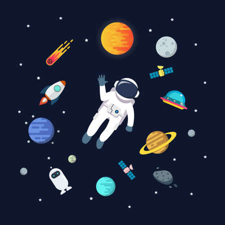Astronaut man floating in space with planets background. star and planets on galaxy background. Flat style vector illustration 矢量图像