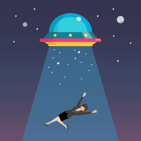 Business woman abducted by UFO. Flat style vector illustration
