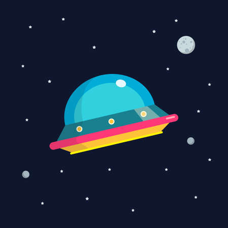 UFO spaceship flat design. star and planets on galaxy background. Flat style vector illustration