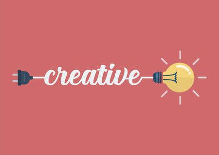 Lightbulb idea with creative word. Vector Illustration