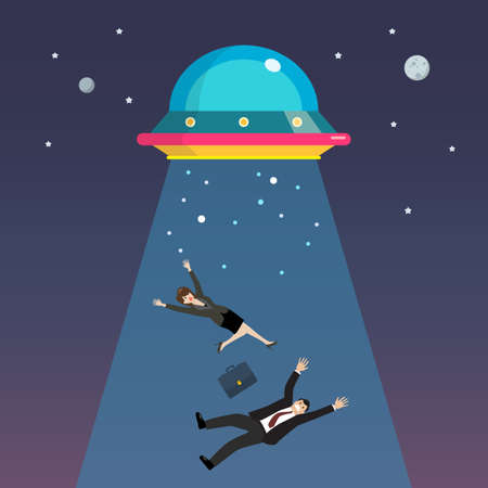 Businessman and woman abducted by UFO. Flat style vector illustration