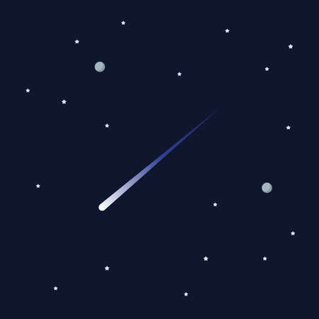 Comet on space background. star and planets on galaxy background. Flat style vector illustration