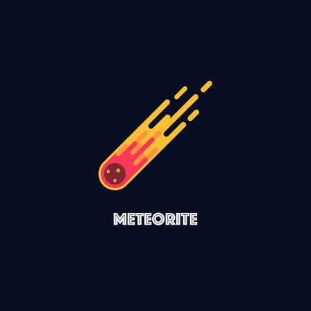 Meteorite logo on black background. Flat style vector illustration