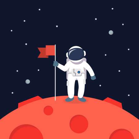 Astronaut Landing On Mars Holding Flag. star and planets on galaxy background. Flat style vector illustration 矢量图像