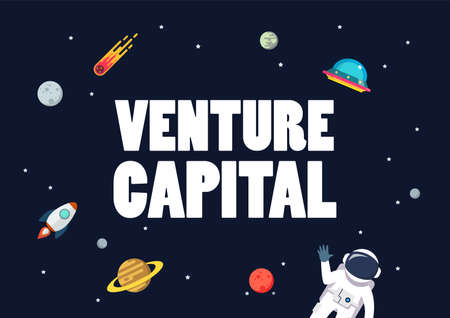 Venture capital with space background. star and planets on galaxy background. Flat style vector illustration