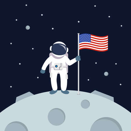Astronaut Landing On Moon Holding American Flag. star and planets on galaxy background. Flat style vector illustration 矢量图像
