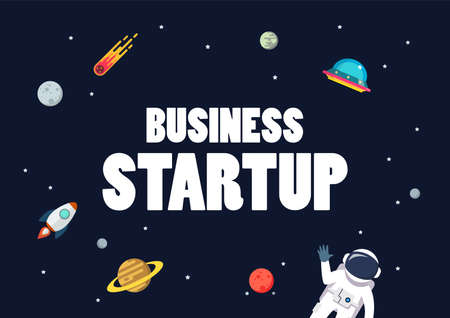 Business startup with space background. star and planets on galaxy background. Flat style vector illustration 矢量图像