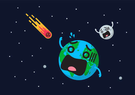 Giant asteroid is approaching to frightening earth. Flat style vector illustration 矢量图像