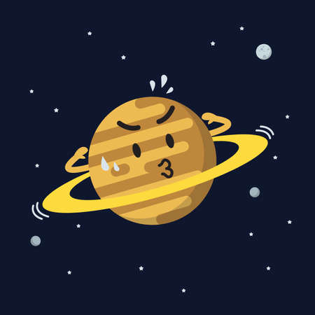 Satern exercising on space background. star and planets on galaxy background. Flat style vector illustration 矢量图像