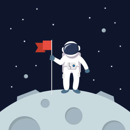 Astronaut Landing On Moon Holding Flag. star and planets on galaxy background. Flat style vector illustration