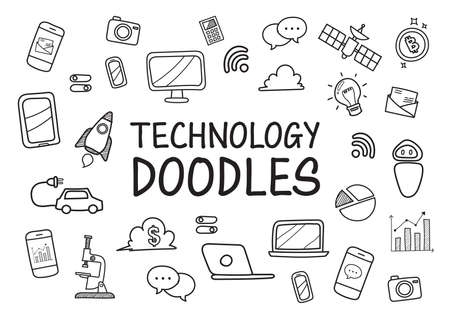 Technology doodles hand drawn icons. Vector illustration