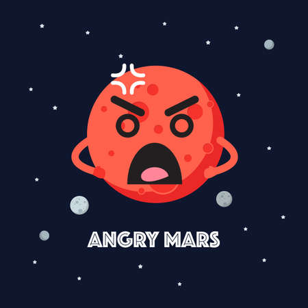 Angry mars character emoticon on space background. star and planets on galaxy background. Flat style vector illustration