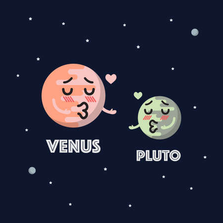 Venus in love with pluto character emoticon on space background. star and planets on galaxy background. Flat style vector illustration