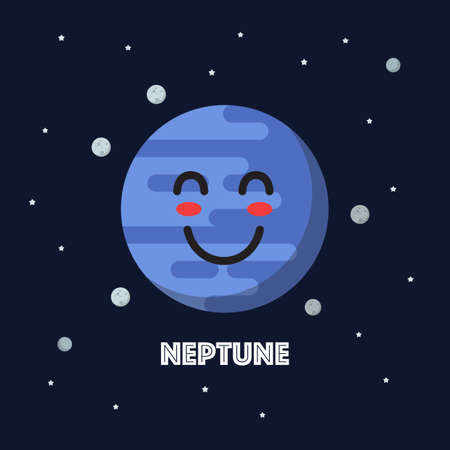 Smiling neptune character emoticon. star and planets on galaxy background. Flat style vector illustration