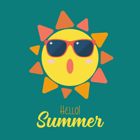 Summer sun wearing sunglasses. vector illustration