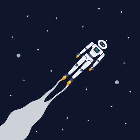 Android robot flying on space background. Vector Illustration. 矢量图像