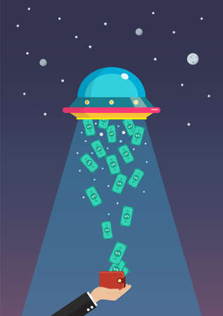 Money abducted by UFO. Business concept. Flat style vector illustration