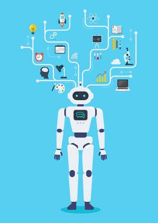 Robot cyborg virtual infographic. Future machine robot. Flat style design 矢量图像