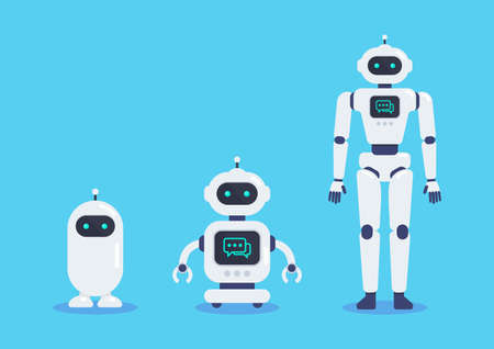 Android Robots Set Cyborg Technology and Futuristic Intelligence Machine. Graphic design in flat style