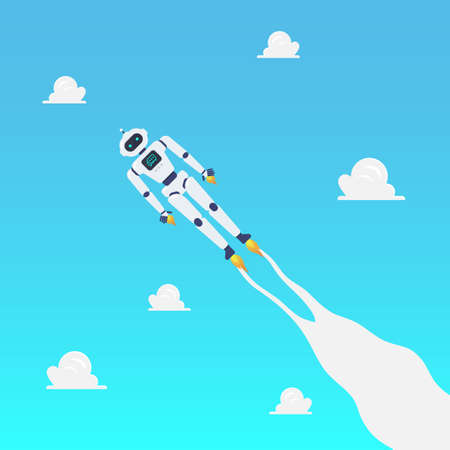 Android robot flying on blue sky. Vector illustration. Artifitial intelligence.