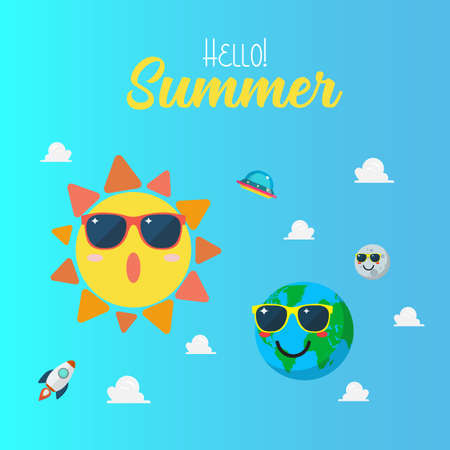 Summertime poster with Planet characters wearing sunglasses. Planet earth wearing sunglasses againts sun character on blue sky. Funny cartoon emoticons on space background. 矢量图像