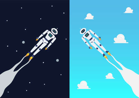Android robots flying on day and night sky. Vector Illustration. 矢量图像