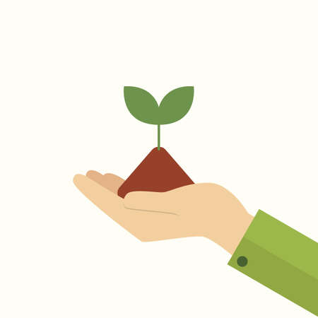 Hand holding young plant. Vector Illustration