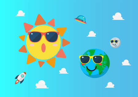 Planet earth wearing sunglasses againts sun character on blue sky. Summertime concept. Funny cartoon emoticons on space background.