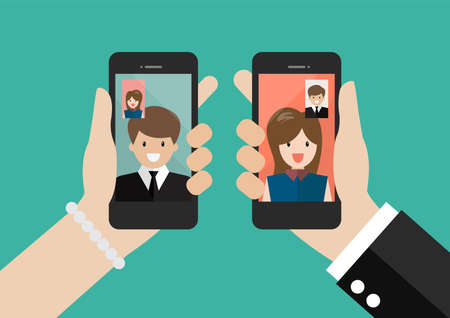 Man and woman make a video call concept. Video call in business. Vector Illustratie