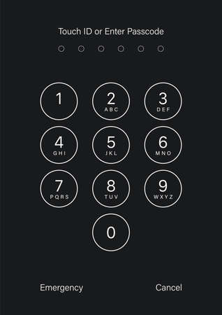 Touch ID or enter passcode screen. Vector illustration