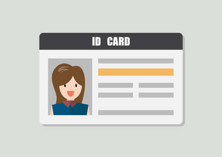 ID Card With Female Photo Vector Illustration. Flat style Personal Identity Vectores